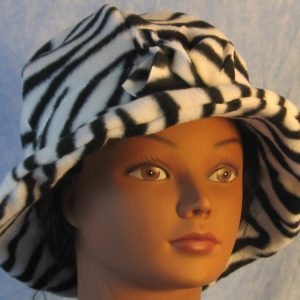 Cloche Hat in Black White Zebra-front