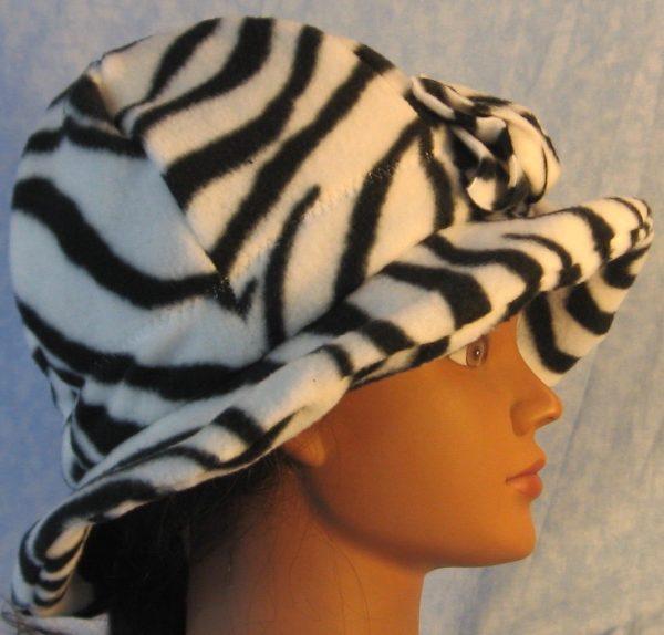 Cloche Hat in Black White Zebra-right