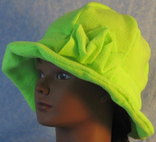 Cloche Hat in Fluorescent Green-left