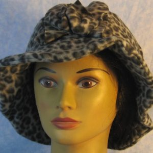 Cloche Hat in Gray Black Leopard-front