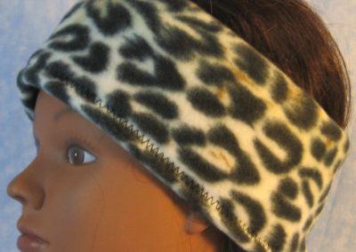 Ear Warmer in Brown Black Cream Leopard-left