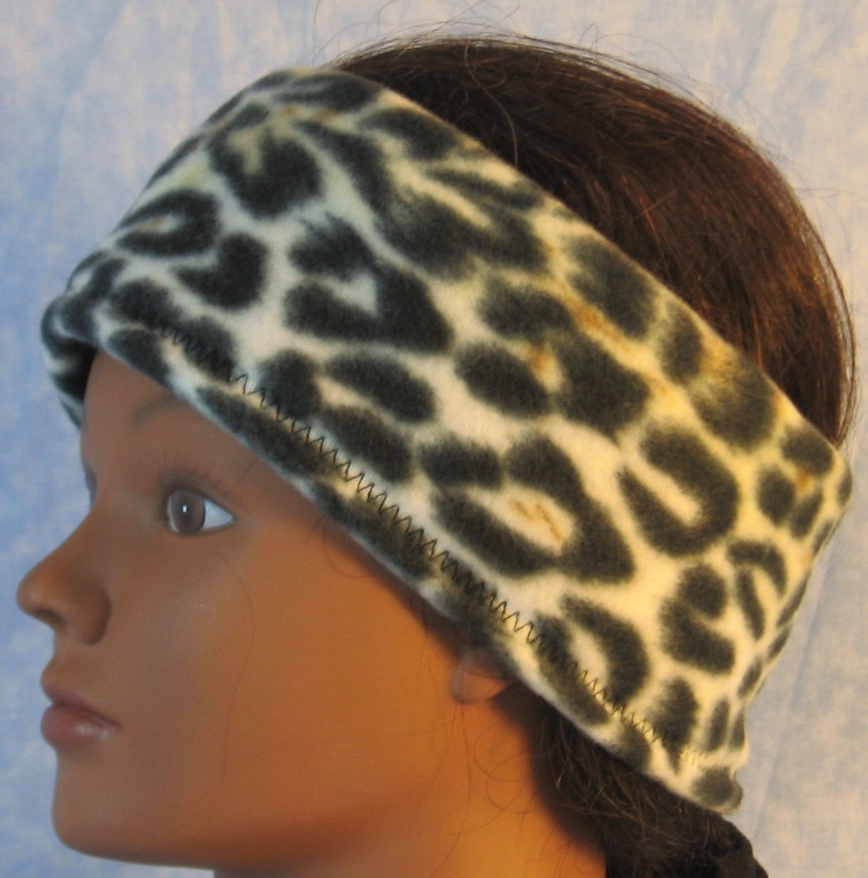 Ear Warmer in Brown Black Cream Leopard-Youth S-M