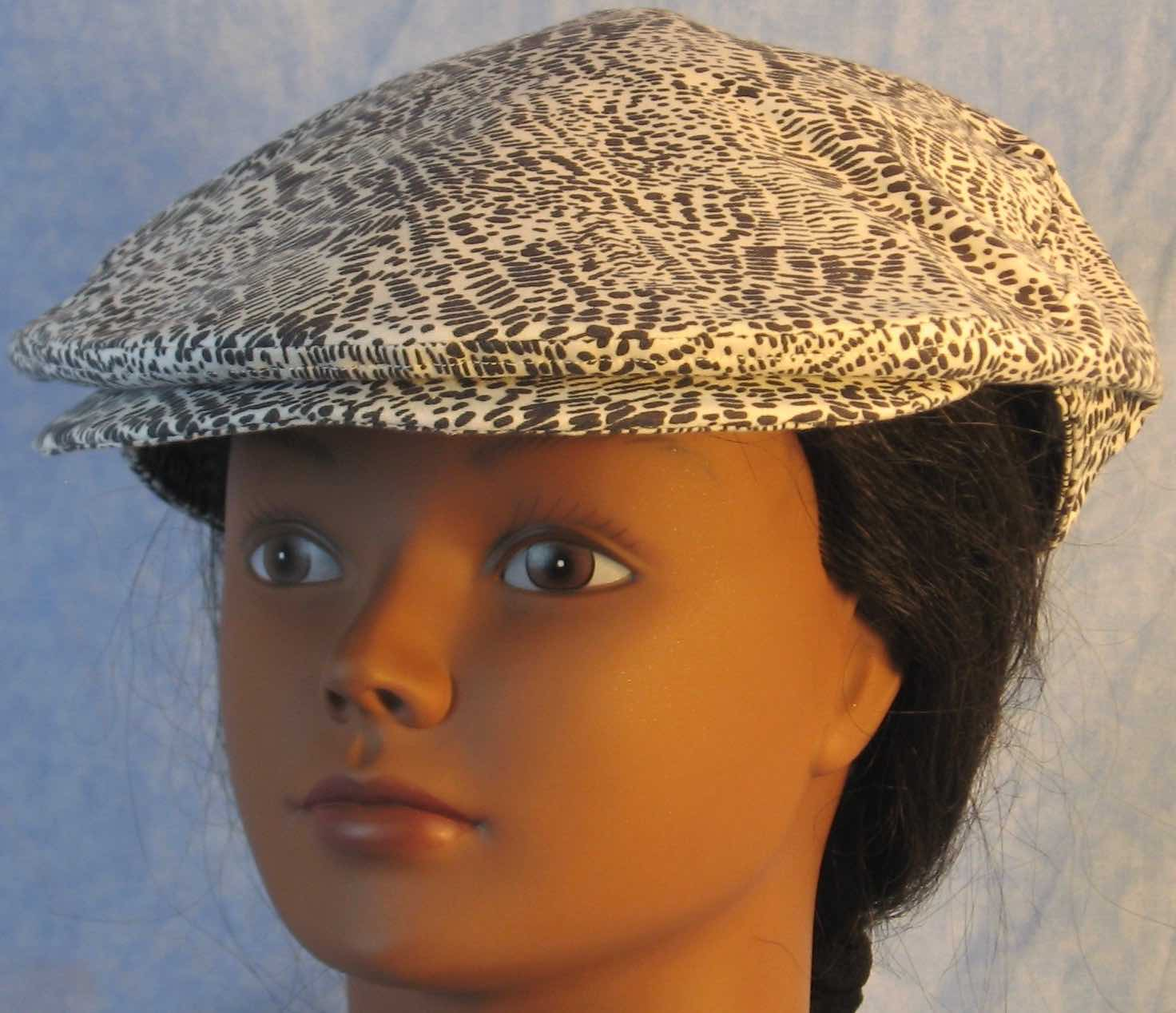 Flat Cap in Black Marks On White - Adult M-XL