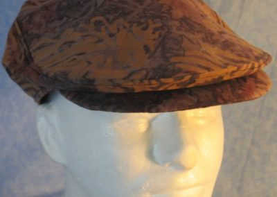 Flat Cap in Brown Gray Dye With Brown Stamp-front top