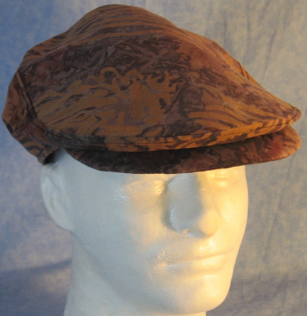 Flat Cap in Brown Gray Dyed With Brown Stamp - Adult M-XL