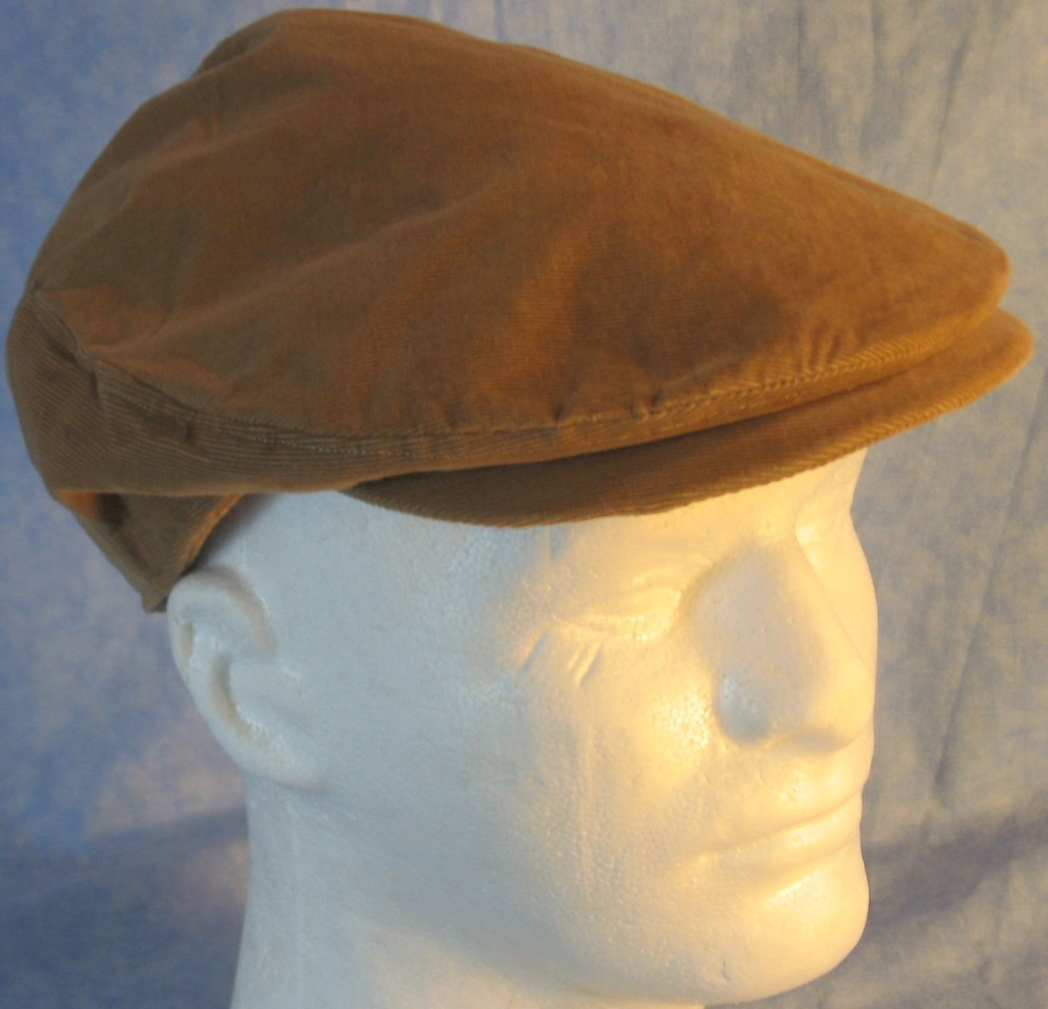 Flat Cap in Camel Brown Corduroy - Adult M-XL
