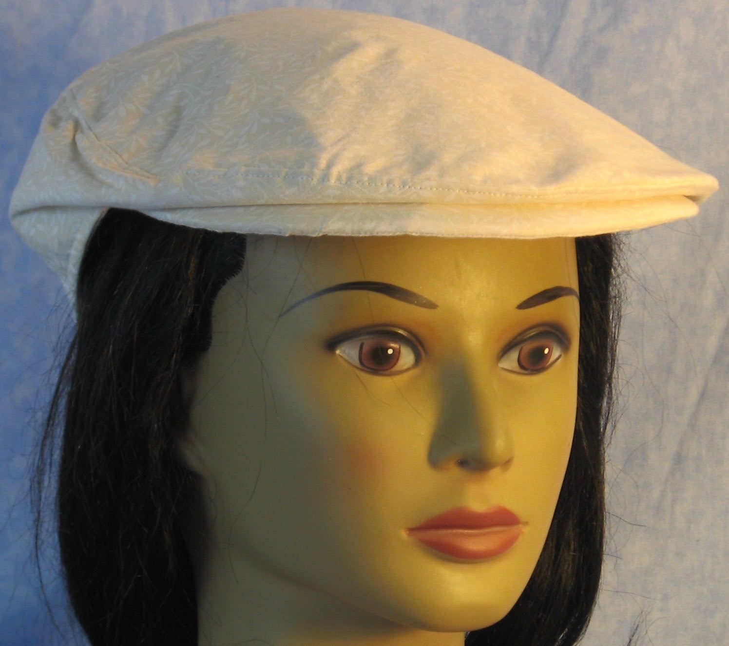 Flat Cap in Cream Cream Branches - Adult M-XL