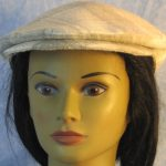 Flat Cap in Cream Tan Plaid Linen-front