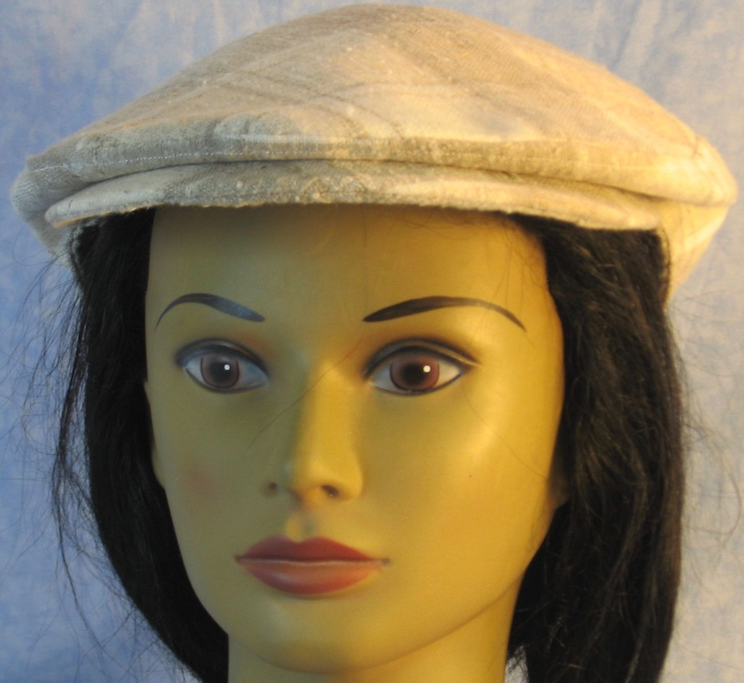 Flat Cap in Cream Tan Plaid Linen Linen - Adult M-XL
