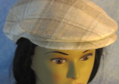 Flat Cap in Cream Tan Plaid Linen-top front