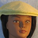 Flat Cap in Light Green With White Line Grid-front