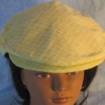 Flat Cap in Light Green With White Line Grid-top