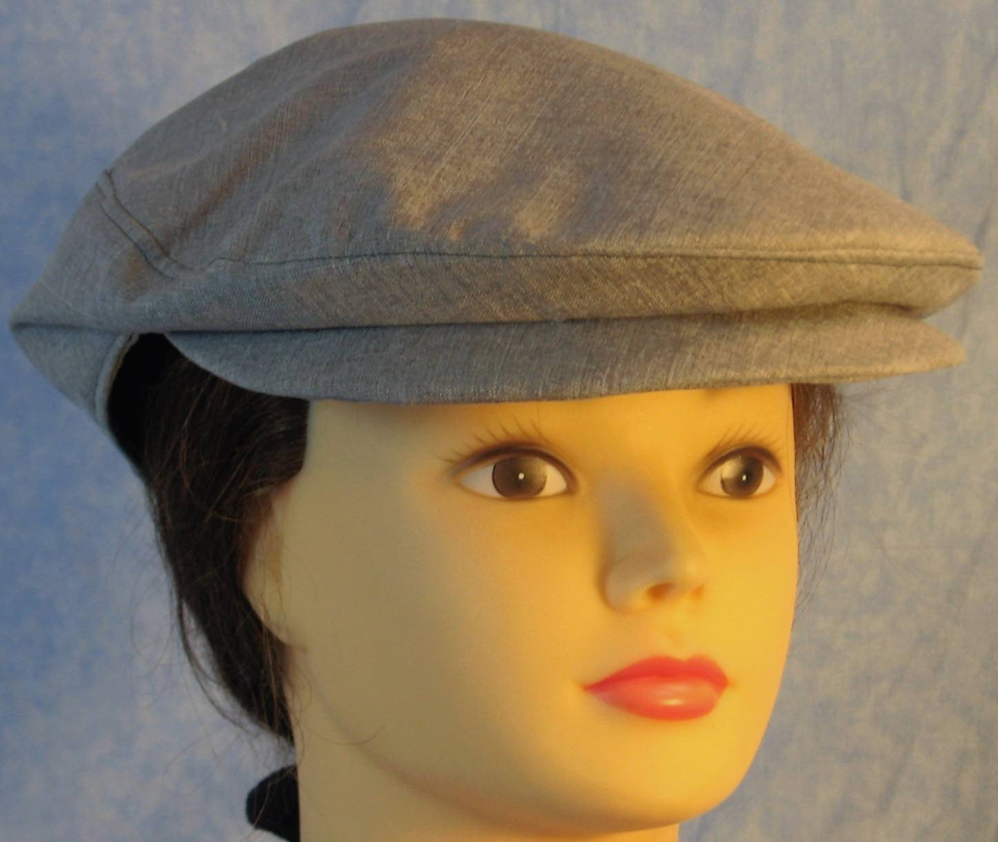 Flat Cap in Light Navy Blue Suiting - Adult M-XL