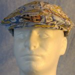 Flat Cap in Music Horns Violin Yellow On Blue-front