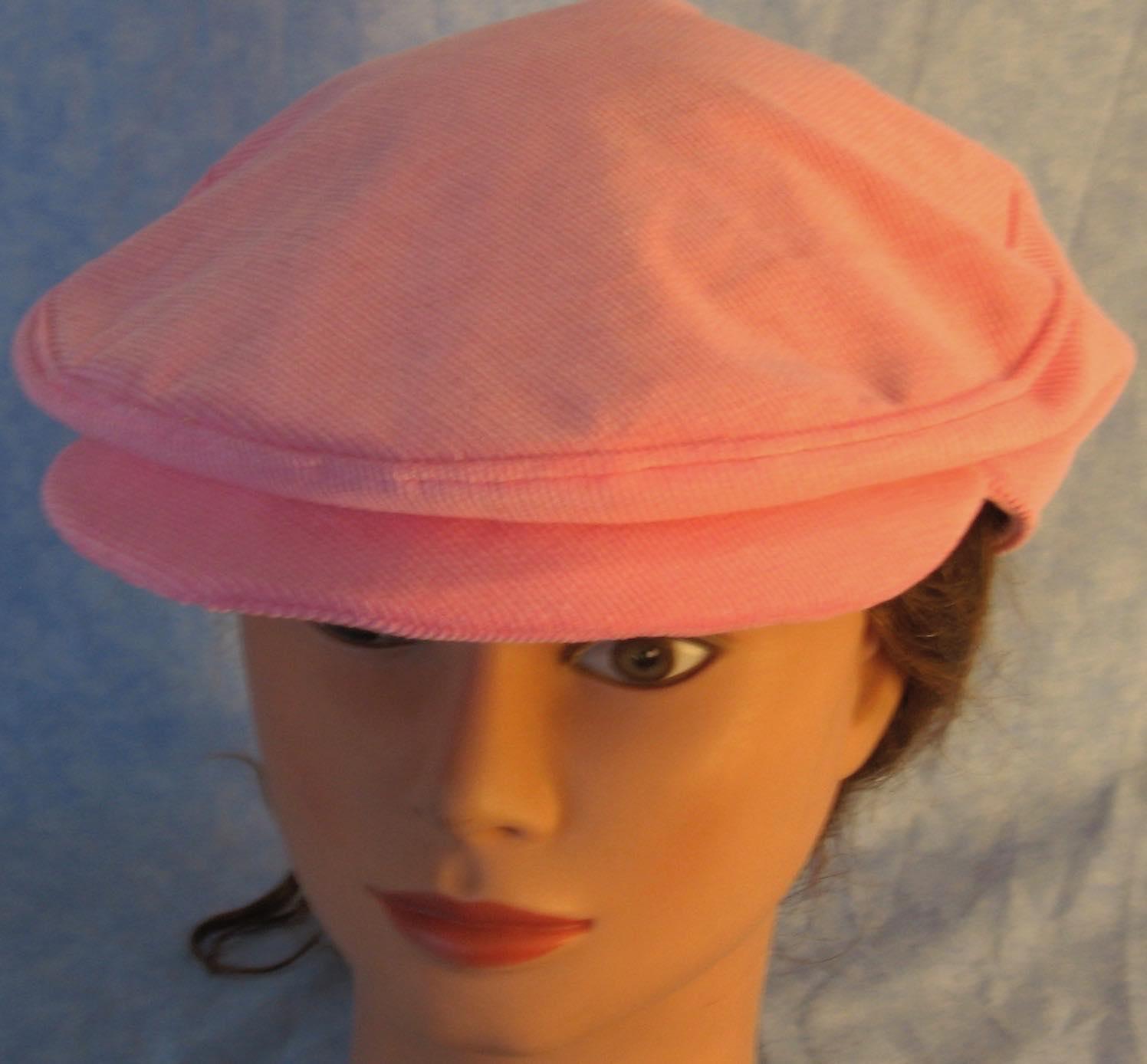 Flat Cap-Pink Corduroy-top