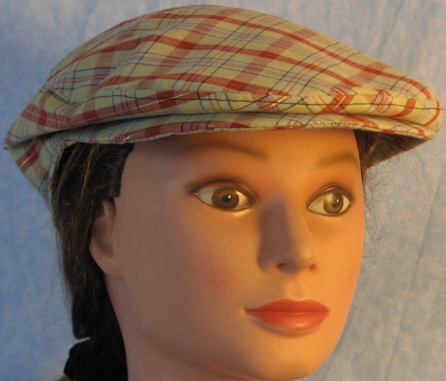 Flat Cap in Red Blue Gold Tan Plaid - Adult M-XL