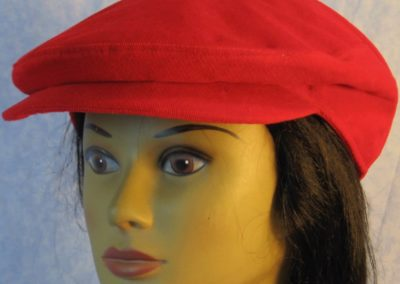 Flat Cap in Red Corduroy-front
