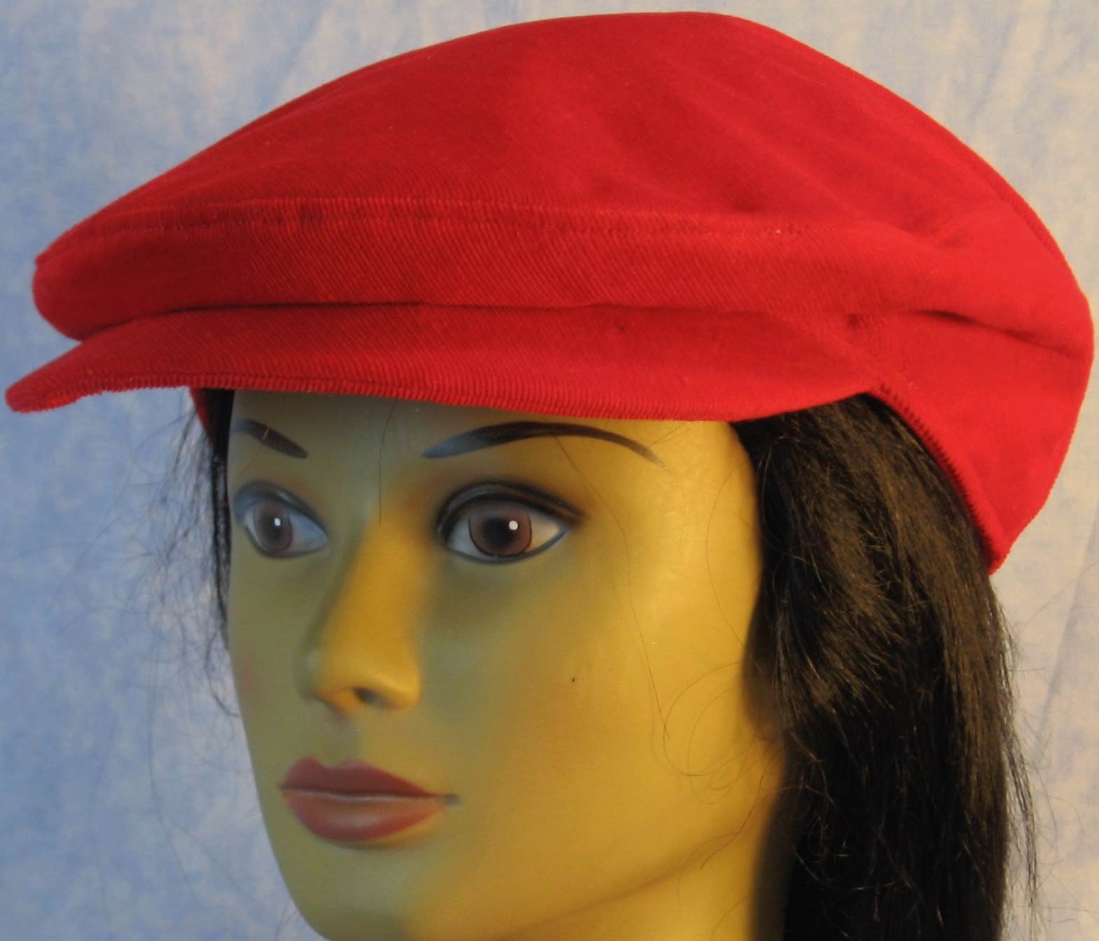 Flat Cap-Red Corduroy-front