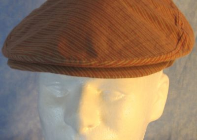 Flat Cap in Red Tan Stripe-front top
