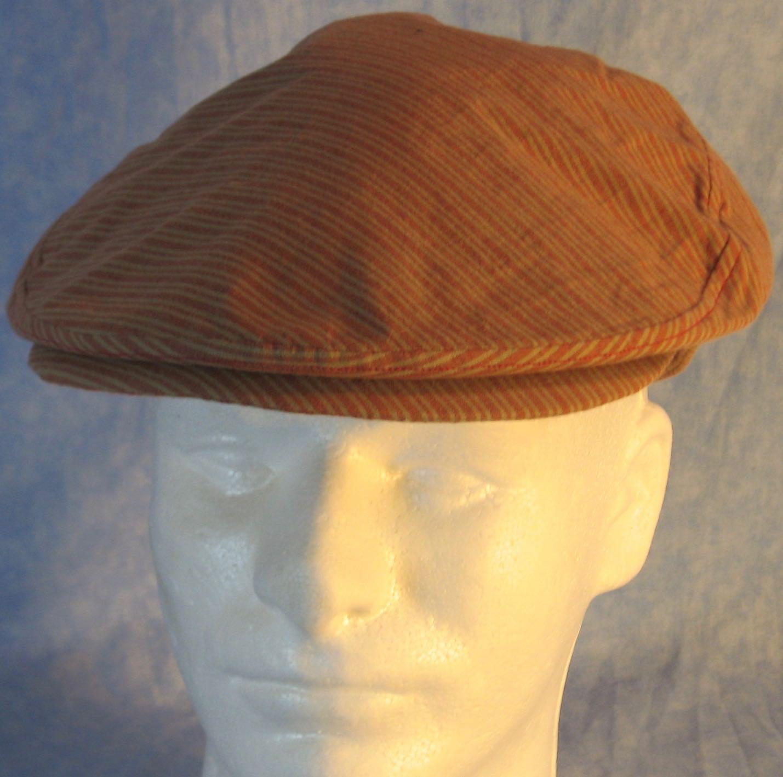 Flat Cap-Red Tan Stripe-front top