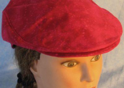 Flat Cap in Rose Red Batik-front top