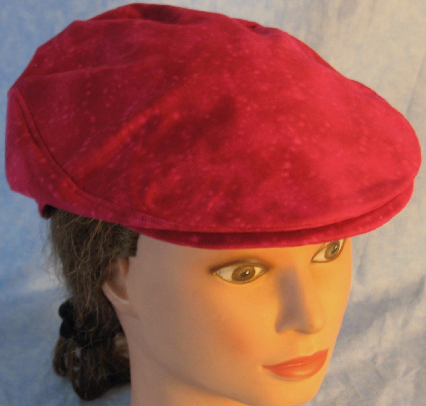 Flat Cap in Rose Red Batik - Adult M-XL