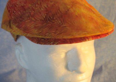 Flat Cap in Yellow Orange Line Flame Batik-top front
