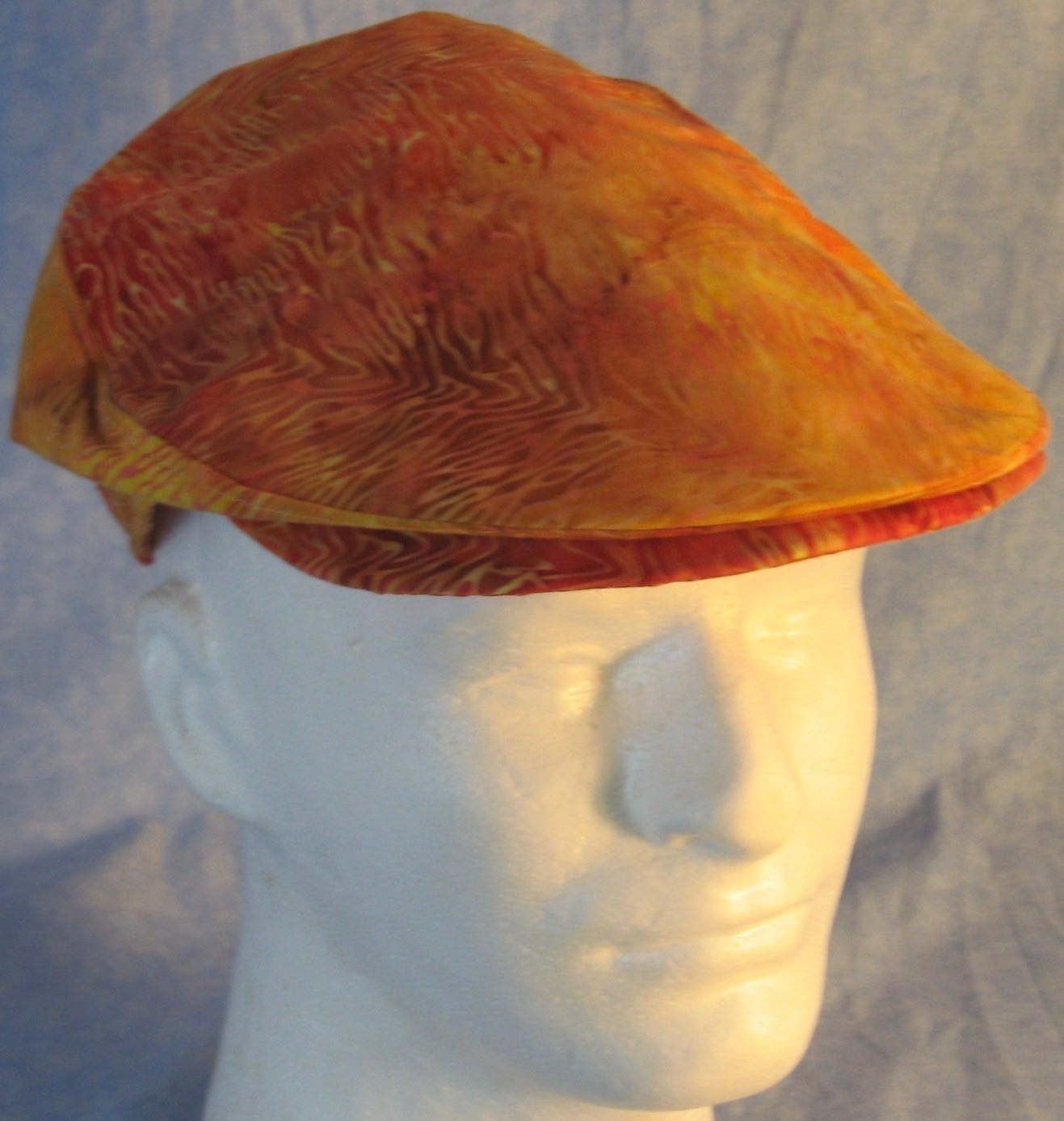 Flat Cap in Yellow Orange Line Flame Batik - Adult M-XL