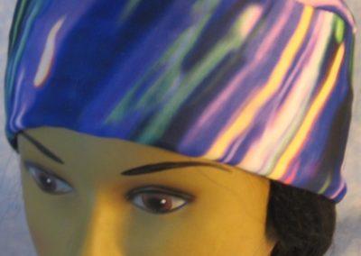 Skull Cap in Blue Purple Green Streaks-Performance Knit-front top