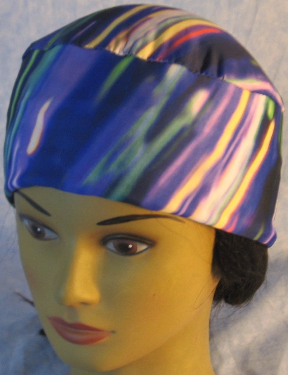 Skull Cap-Blue Purple Green Streaks-Performance Knit-front top