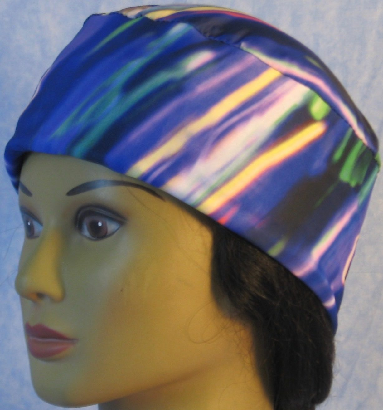 Skull Cap-Blue Purple Green Streaks-Performance Knit-left