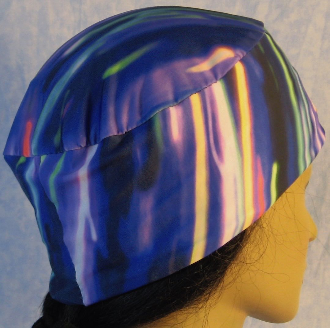 Skull Cap in Blue Purple Green Streaks-Performance Knit-right back