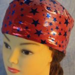 Skull Cap in Blue Stars on Red with Silver Specks-Performance Knit-front top
