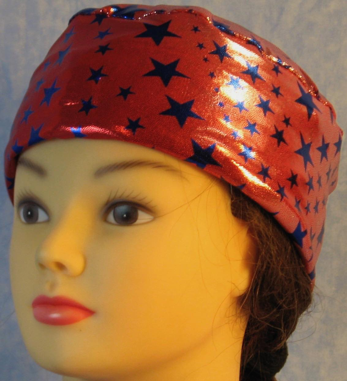 Skull Cap-Blue Stars on Red with Silver Specks-Performance Knit-front