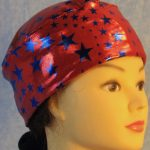 Skull Cap in Blue Stars on Red with Silver Specks-Performance Knit-right