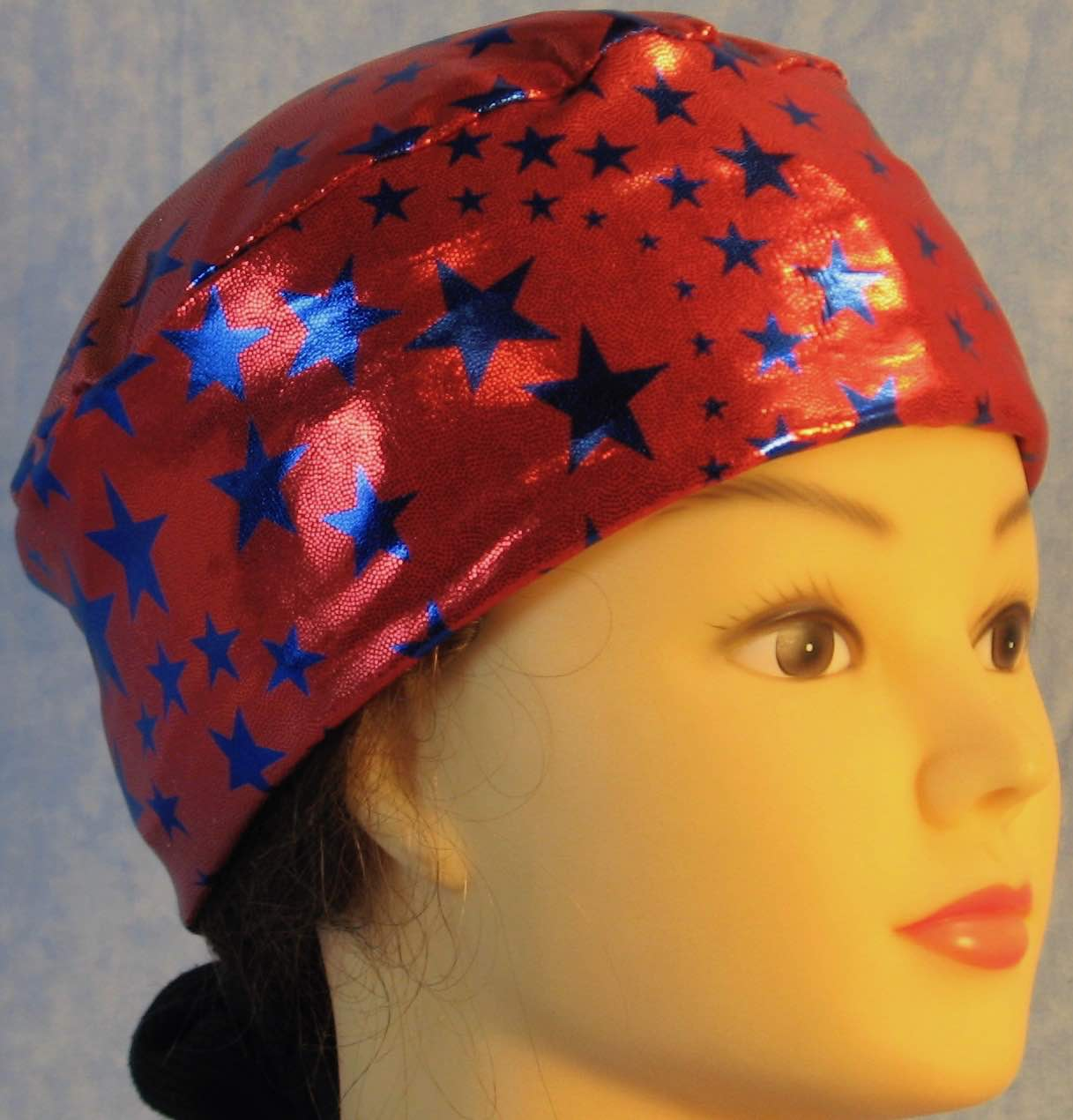 Skull Cap-Blue Stars on Red with Silver Specks-Performance Knit-right