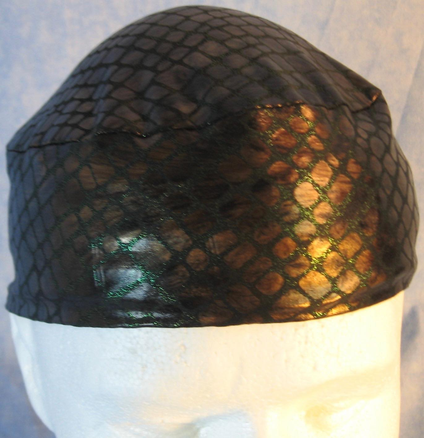 Skull Cap-Copper Snake Green Sparkle-Performance Knit-top