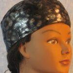 Skull Cap in Gray Black Cheetah Blue Sparkle-Performance Knit-right