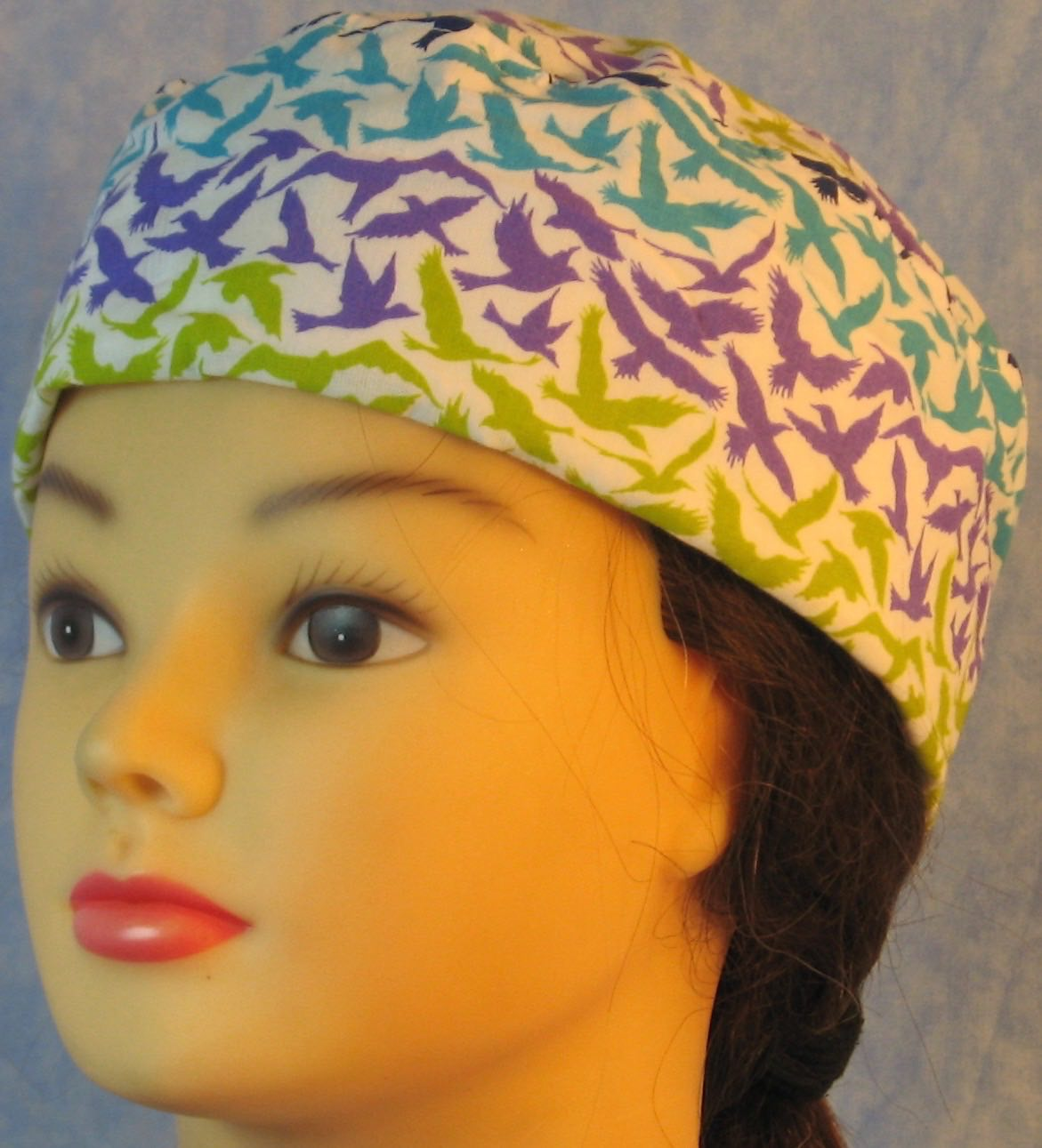Skull Cap-Green Blue Purple Birds on White-Adult M