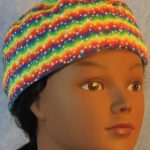 Skull Cap in Rainbow Zigzag Stars-front