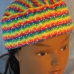 Skull Cap in Rainbow Zigzag Stars-front top