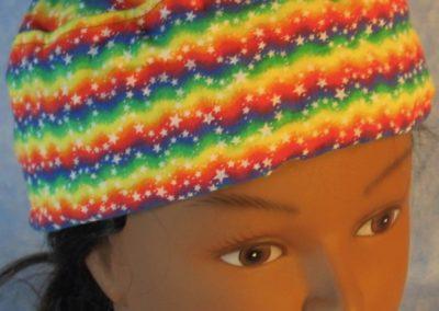 Skull Cap in Rainbow Zigzag Stars-front top