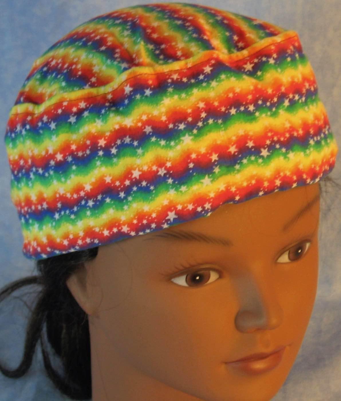 Skull Cap-Rainbow Zigzag Stars-Adult M