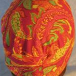 Skull Cap in Yellow Orange Green Paisley on Pink-Performance Knit-back