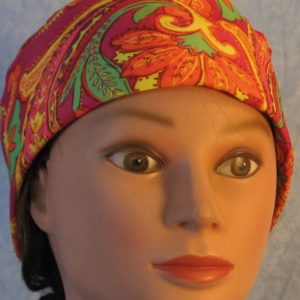 Skull Cap in Yellow Orange Green Paisley on Pink-Performance Knit-front
