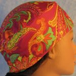 Skull Cap in Yellow Orange Green Paisley on Pink-Performance Knit-right