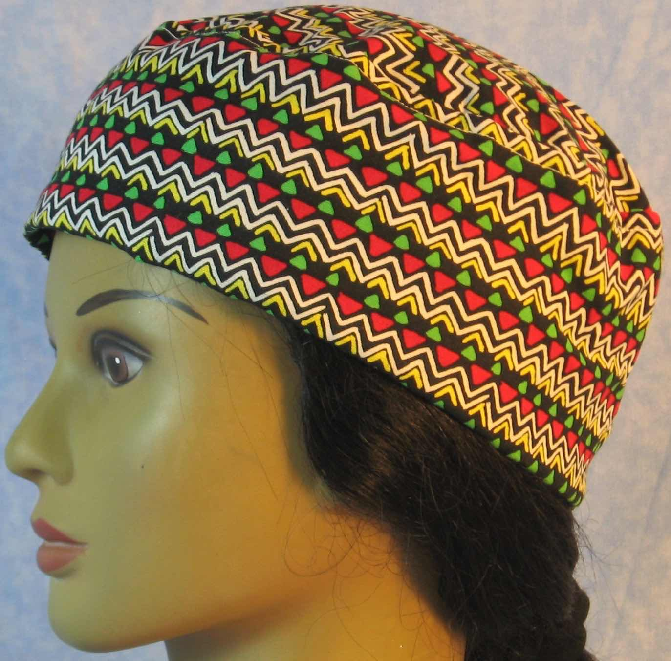Skull Cap-Yellow Zigzag Red Green Triangle-Adult L