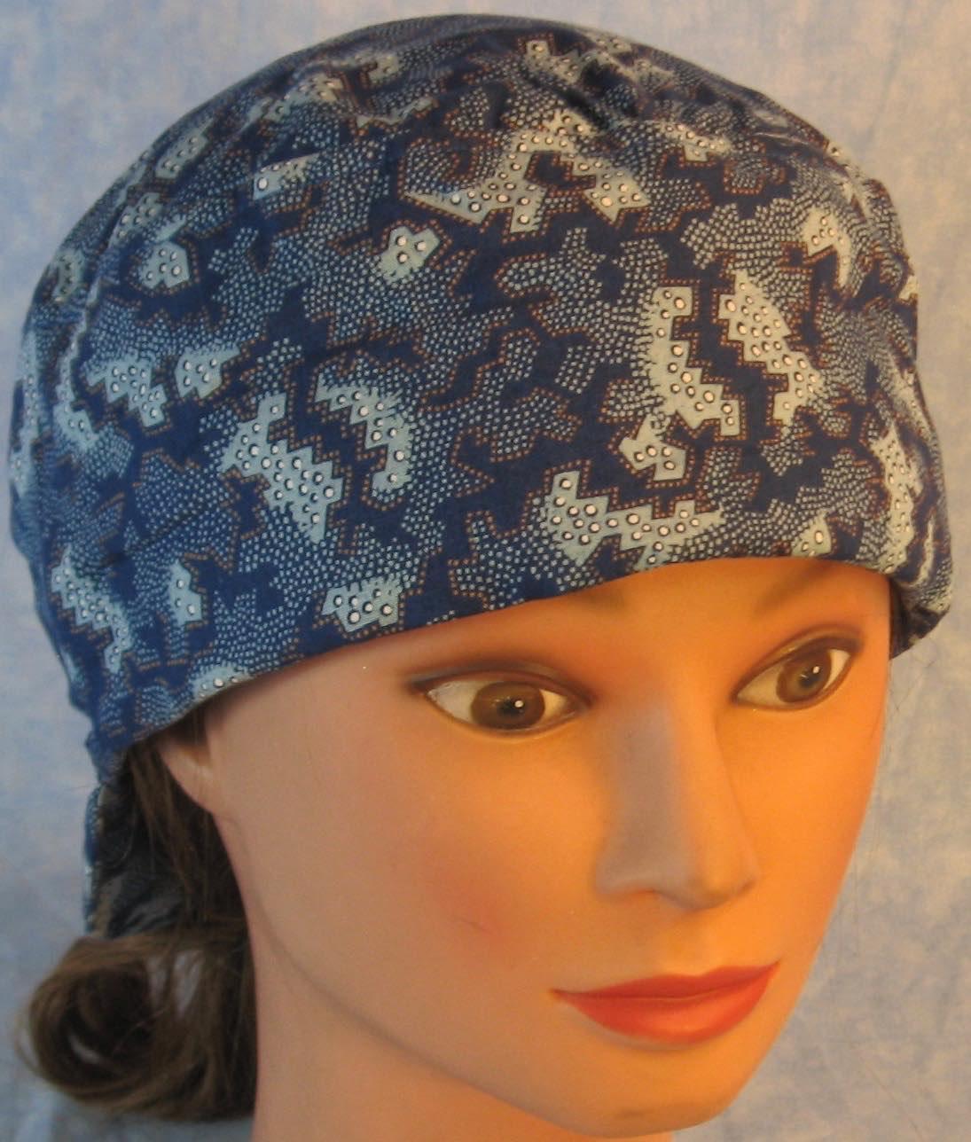 Welding Cap-Blue Blue Geometric White Brown Dots-Adult XL