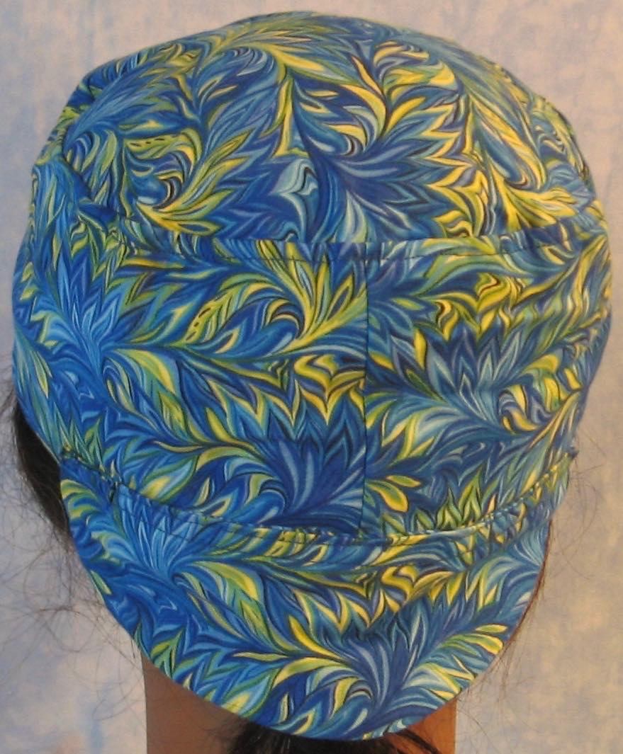 Welding Cap-Blue Green Yellow Scrolly Leaf-back