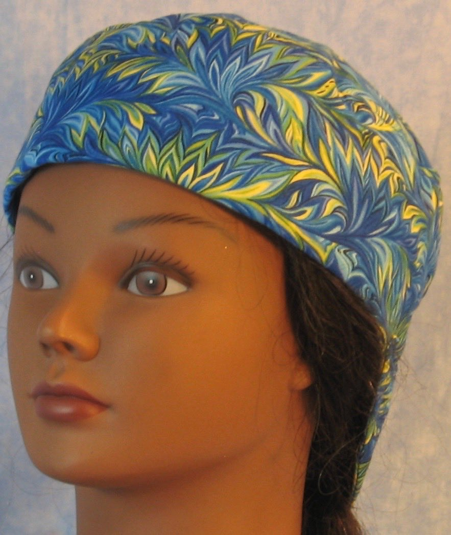 Welding Cap-Blue Green Yellow Scrolly Leaf-front